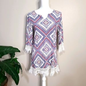Umgee Crochet Tunic Dress Small